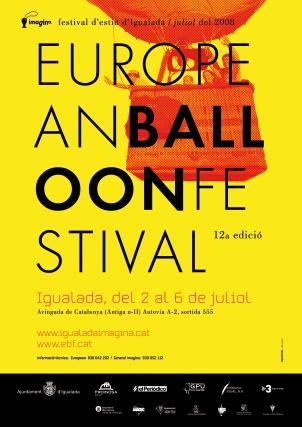 Cartell European Ballon Festival Imagina festival d'estiu d'Igualada, juliol 2008