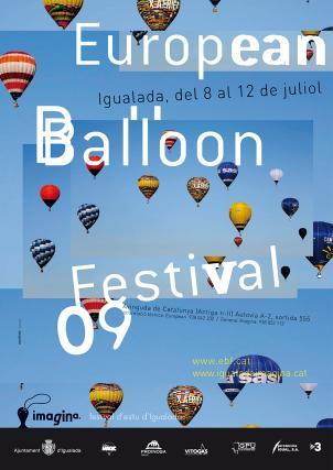 Cartell European Ballon Festival Imagina festival d'estiu d'Igualada, juliol 2009